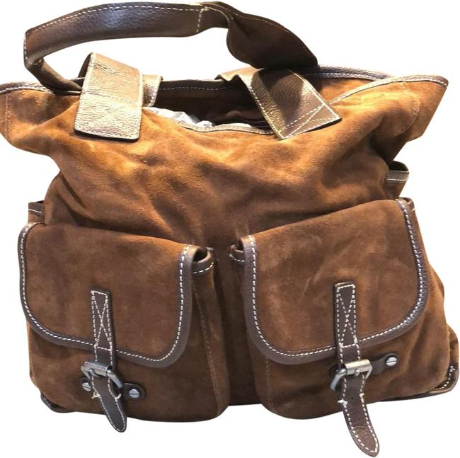 Item - With Buckles Brown Suede Leather Tote
