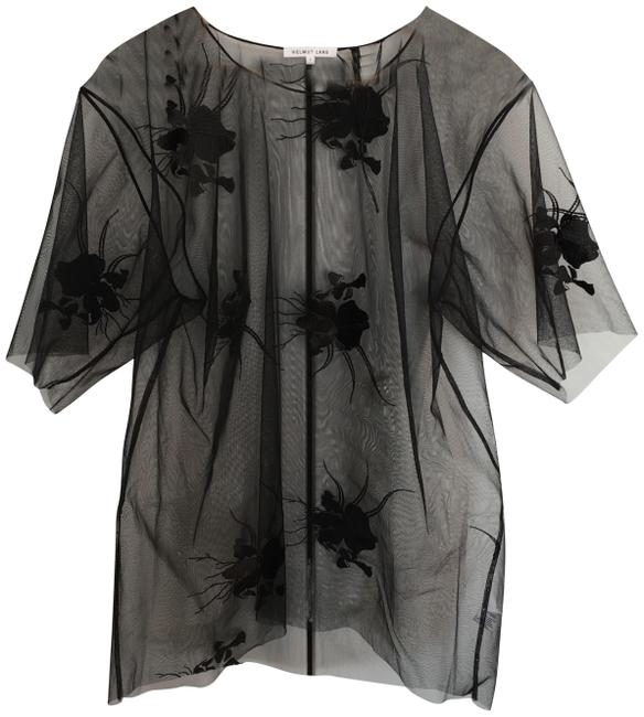 Item - Black Sheer Floral Orchid Embroidery Tee Shirt Size 6 (S)