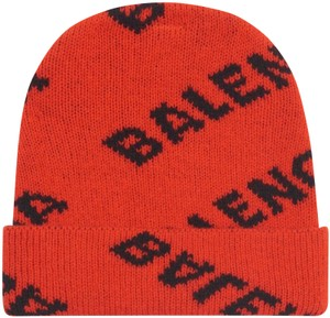 Balenciaga Red and Black Logo Beanie