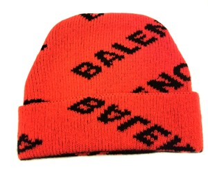 Balenciaga Balenciaga Monogram Red and Black Logo Knit Beanie