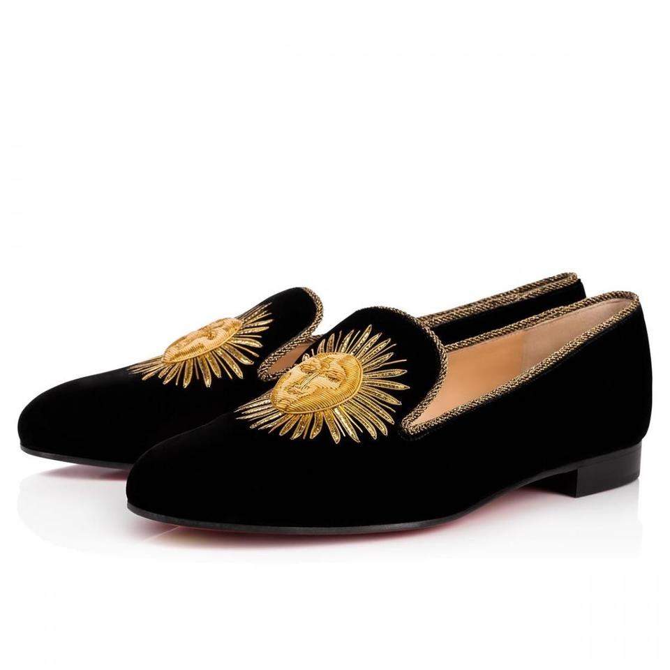 online retailer e67e4 1bf79 Christian Louboutin Black Morning Sakouette Velvet Gold Sun Embroidered  Classic Loafer Flats Size EU 38 (Approx. US 8) Regular (M, B)