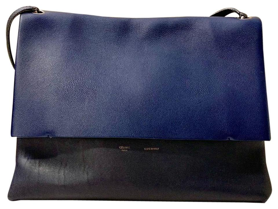 188f18808884 Céline All Soft Calfskin Suede Grained Smooth Leather Blue and Black ...
