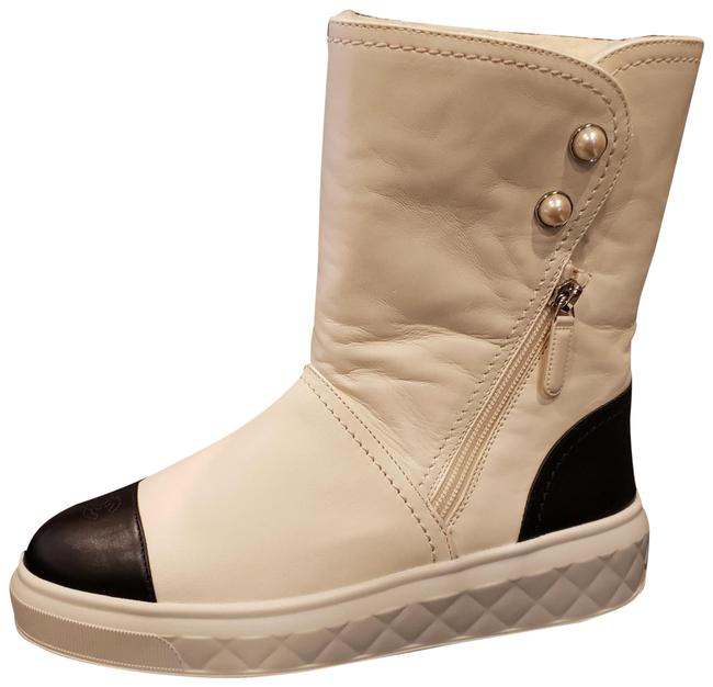 Item - Cream White/Black 18s Leather Faux Shearling Cap Toe Pearl Button Mid Calf Boots/Booties Size EU 38 (Approx. US 8) Regular (M, B)