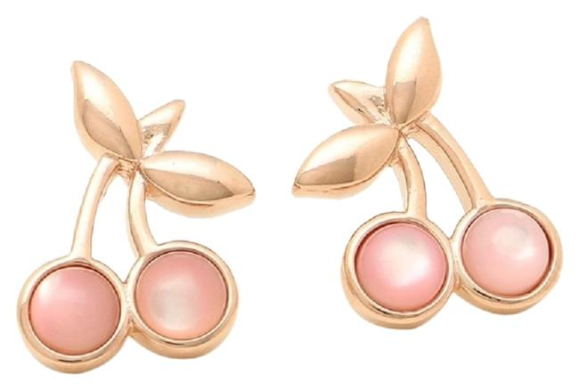 Item - Pink Cherry Stud Plated Brass In Rose Gold Tone Earrings