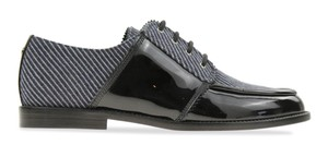 Chanel Loafers Moccasin Striped Oxford Navy Blue/Grey/Black Flats