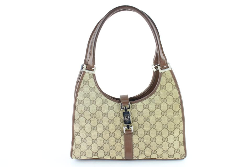 b8865166af8fc3 Gucci Jackie Bardot Sold 5/7/19 Av Lm Gg Piston Hobo 11gz0125 Brown Canvas  Shoulder Bag