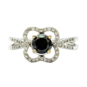 Tommy Hilfiger White Gold 0.67ct Black and 0.24ctw Diamond Ring