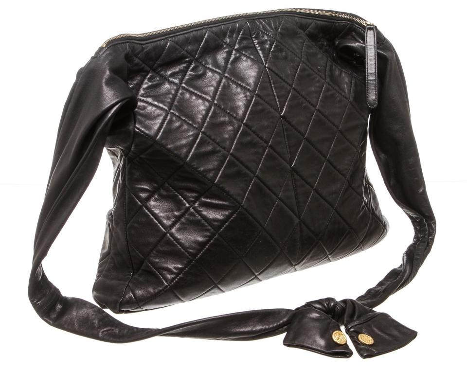1f656a61e6de Chanel Girl Quilted 488119 Black Lambskin Leather Cross Body Bag - Tradesy