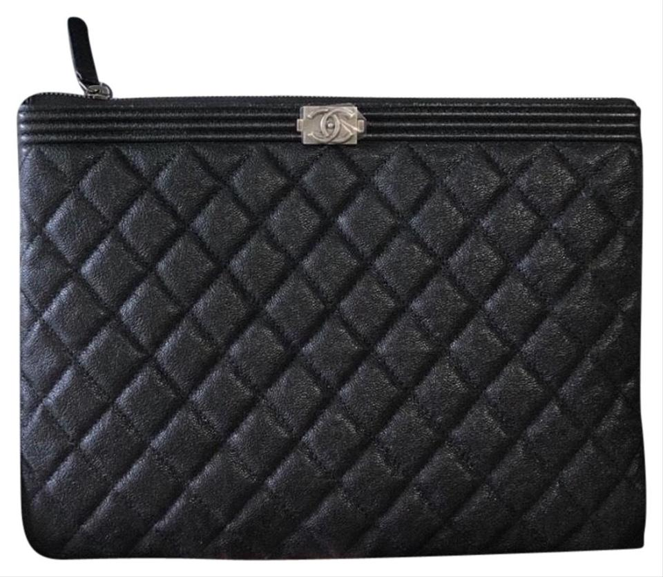 b194d2166a73 Chanel Boy O Case Black Caviar Leather Clutch - Tradesy