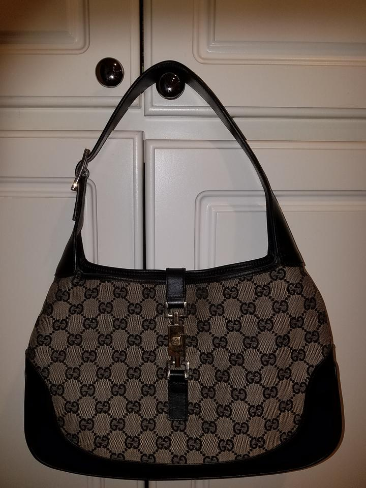 eb2db2048f5d Gucci Jackie Full Size Cloth Leather Trim Black Canvas Hobo Bag ...