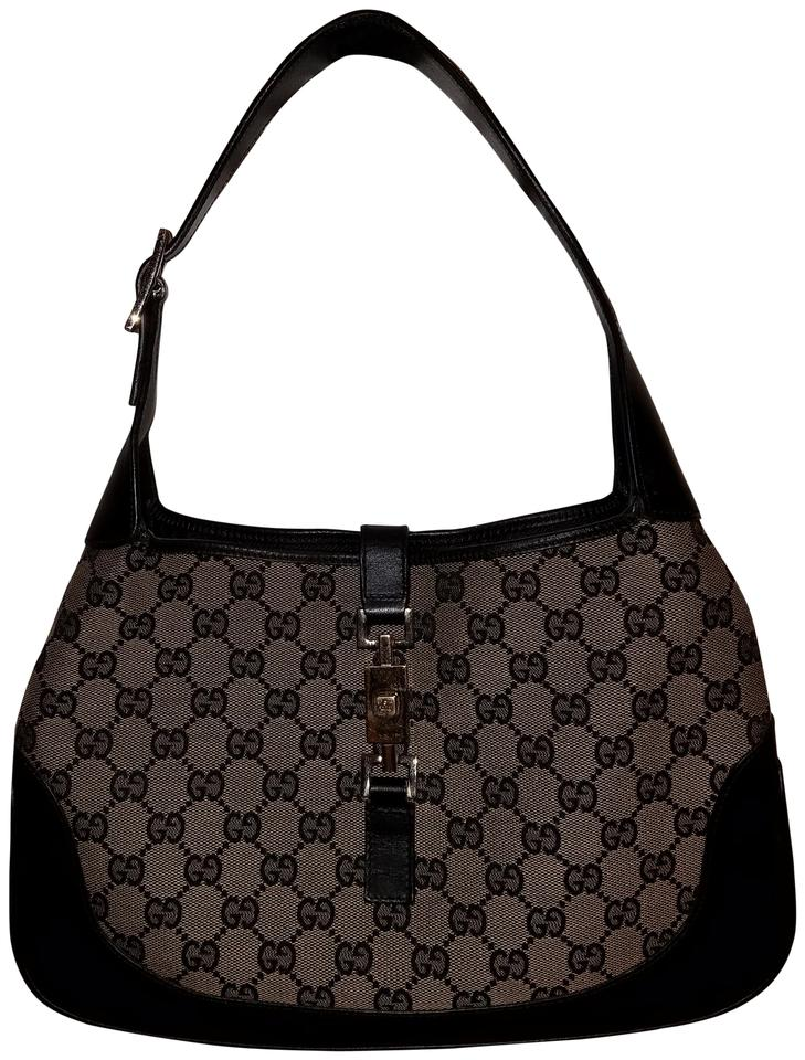 b8670a7f1844e2 Gucci Jackie Full Size Cloth Leather Trim Black Canvas Shoulder Bag ...