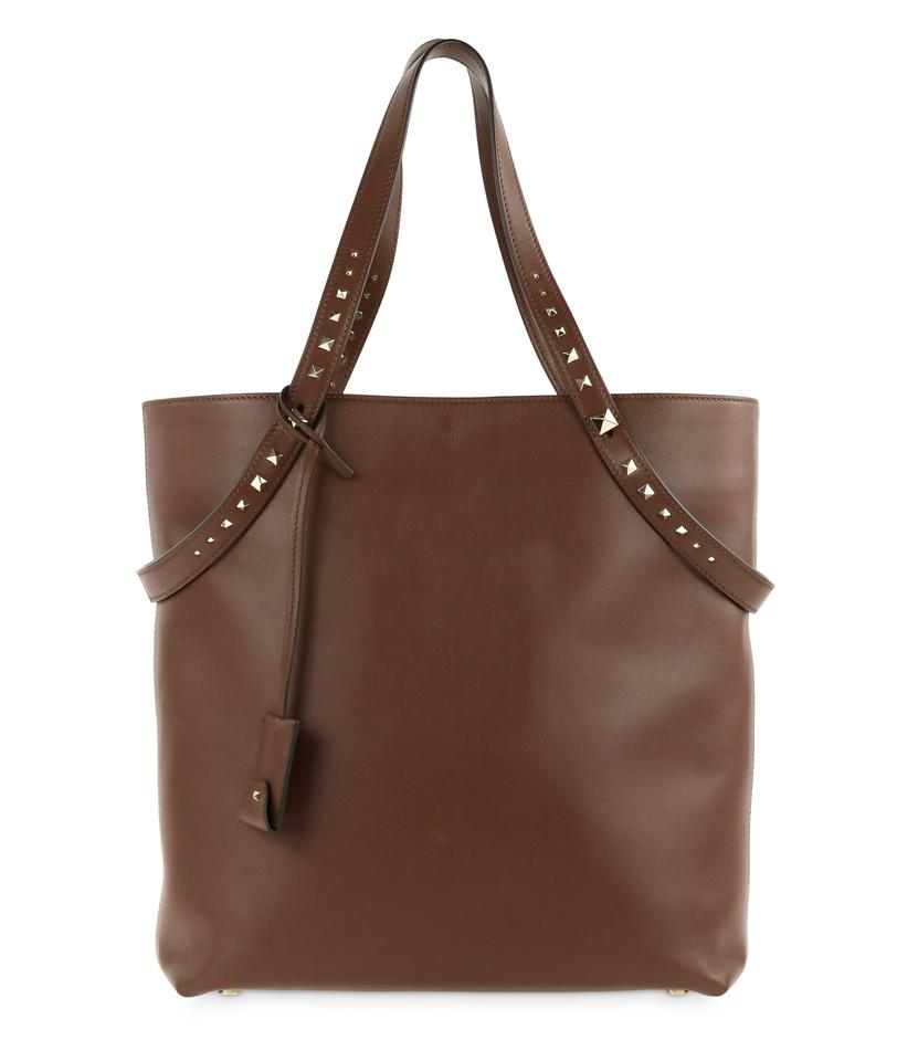 Valentino Lovestud Brown Leather Tote - Tradesy