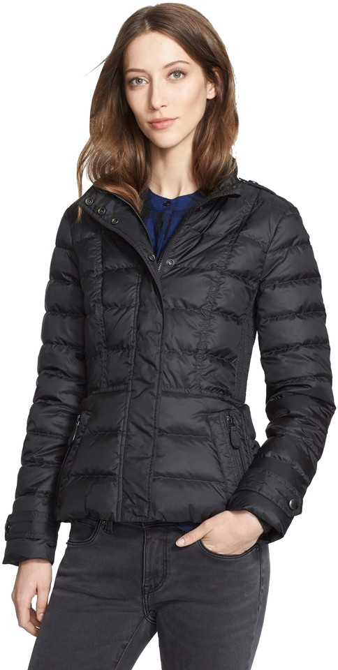 Burberry Black Womens Quilted Puffer Down Jacket Small Coat Size 4 ... ad8b0759a1