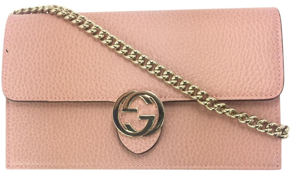 0cd43b378 Gucci 510314 Gg Closure Chain Crossbody/ Wallet Soft Pink Leather ...