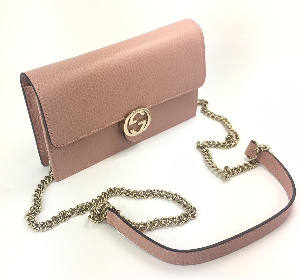 78d778ce2 Gucci 510314 Gg Closure Chain Crossbody/ Wallet Soft Pink Leather Cross  Body Bag - Tradesy