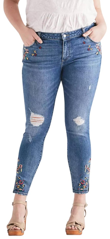 729d7ae8df26 Lucky Brand Blue Wash Distressed Ginger Skinny Jeans Size 18 (XL ...