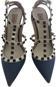 Valentino Like New Rare Rockstud Blue, Cream and Deep Burgundy Pumps