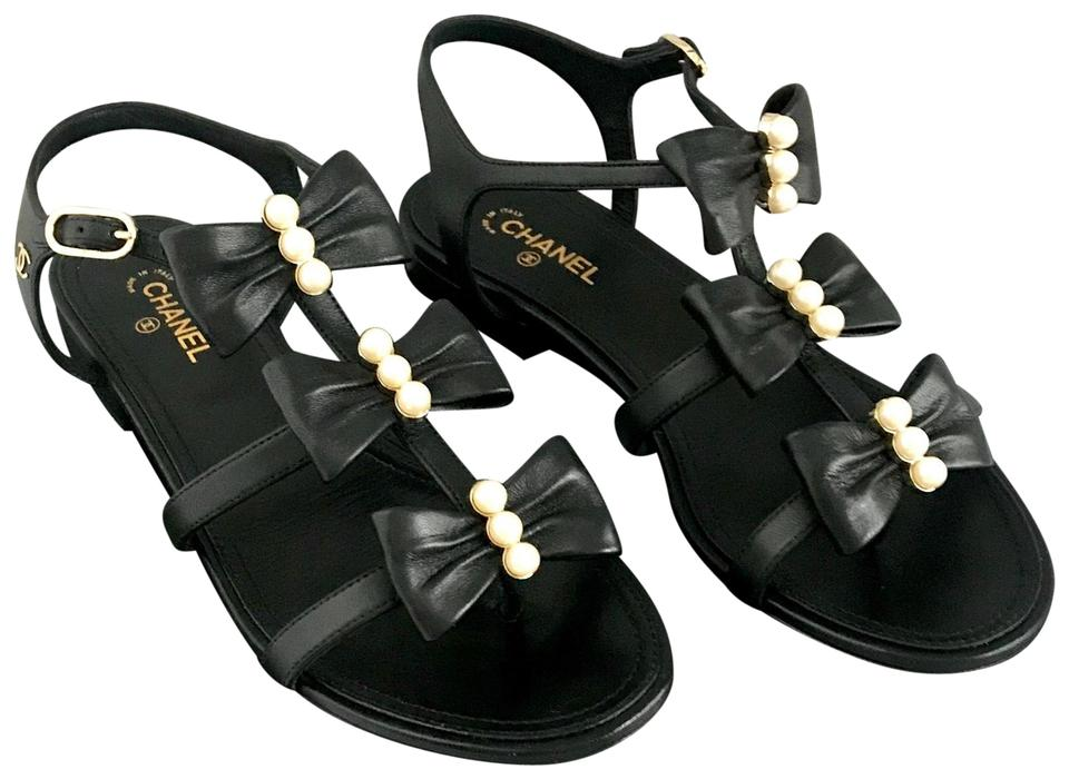 11dbfa1c8a4 Chanel Black New with Bows and Pearls Sandals Size EU 37 (Approx. US ...