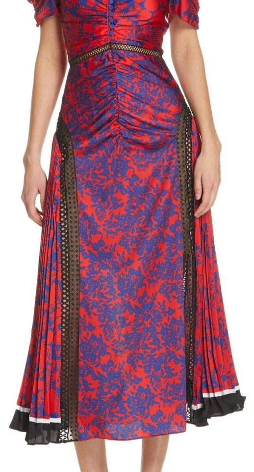 896291528b03c self-portrait Blue/Red Ruched & Pleated Floral Print Cocktail Dress
