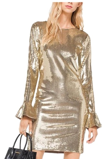 Item - Gold Flounce-sleeve Sequined Short Cocktail Dress Size 8 (M)