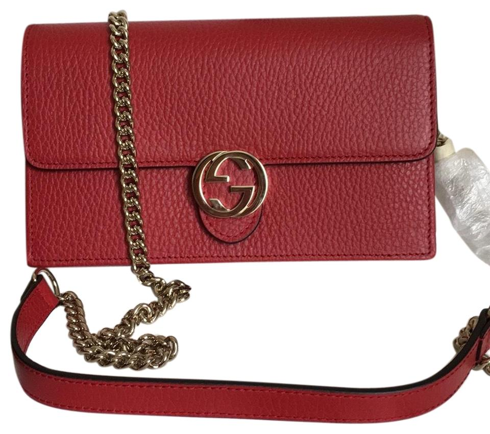 5aeaea3e930ee9 Gucci Wallet on Chain Leather Red Cross Body Bag - Tradesy
