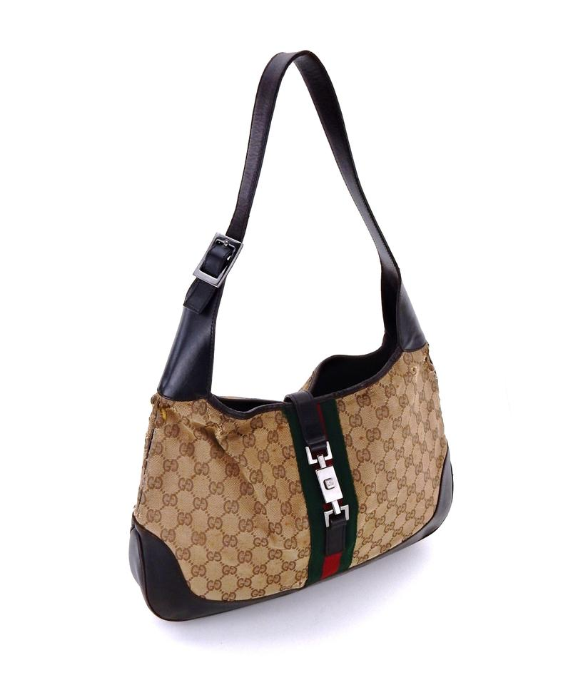 4dc0665eca5 Gucci Jackie Brown Web Gg Monogram Canvas Leather Shoulder Bag - Tradesy