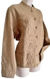 Talbots Nordic Embroidered Tone On Tone Weekend Floral Cardigan