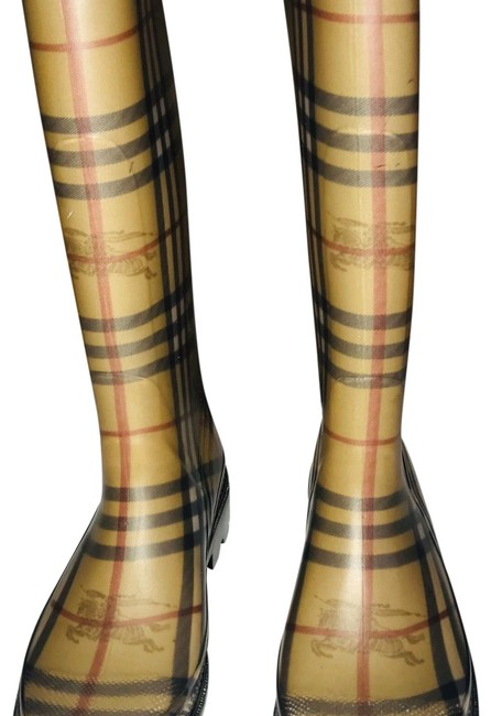 Item - Tan Nova Check Women's Rain Boots/Booties Size EU 37 (Approx. US 7) Narrow (Aa, N)