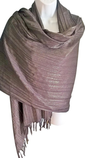 Item - Brown and Gold Large Crinkle Cotton Fringed Year Round Scarf/Wrap