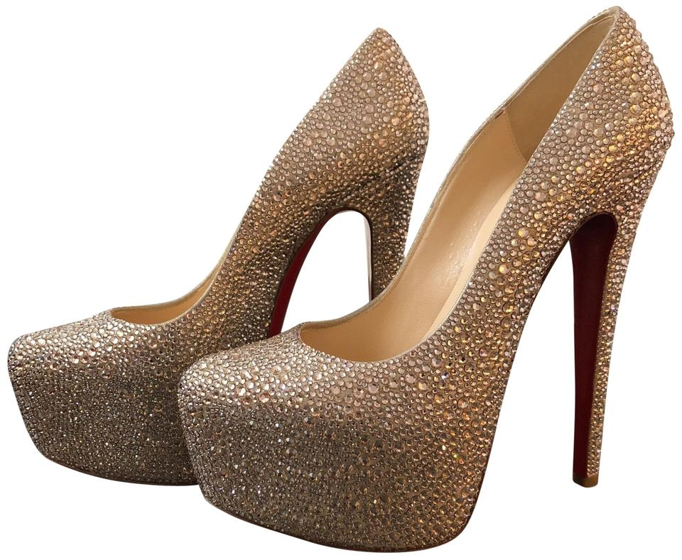 new concept 0a89b a6fe3 Christian Louboutin Rose Gold Daffodile Strass Platforms Size EU 38.5  (Approx. US 8.5) Regular (M, B) 41% off retail