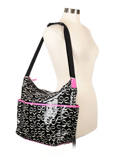 Item - Breast Cancer Awareness Black/White/Pink Coated Canvas Diaper Bag