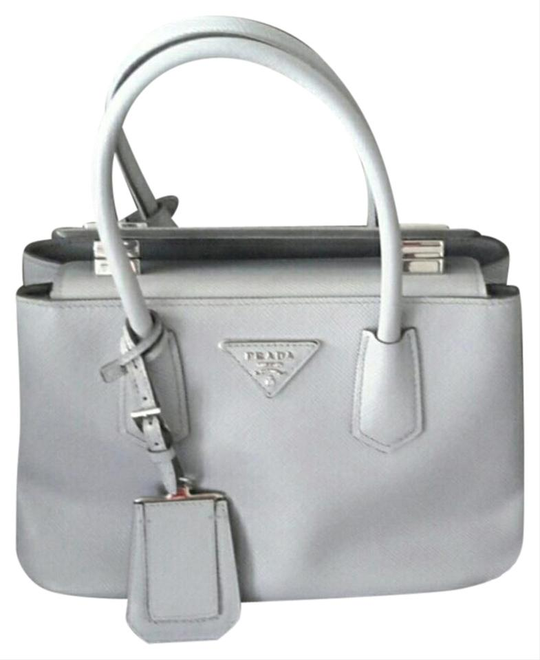 7c1432ea8c21 Prada Saffiano Cuir Granito Blue Grey Leather Cross Body Bag - Tradesy
