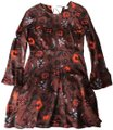 Sandro short dress Burgundy with multicolored flowers Floral Floaty on Tradesy