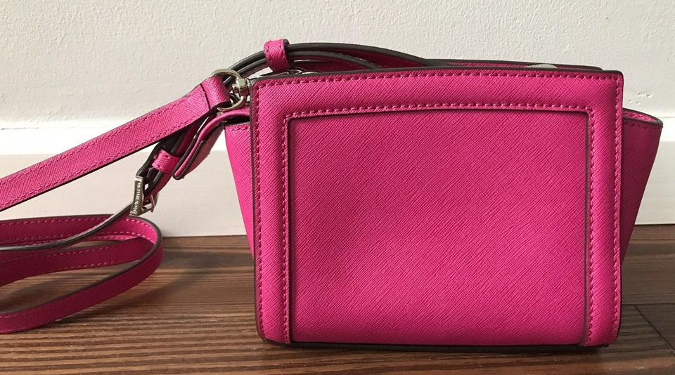 Michael Kors Selma Mini Pyramid Studded Silver Messenger Raspberry Hot Pink  Saffiano Leather Cross Body Bag - Tradesy ea6119d6b3123