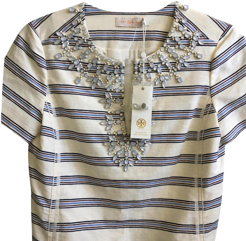 40333f942b4 Tory Burch Ivory Crystal Embellished Kirsten Striped Tunic Size 2 ...