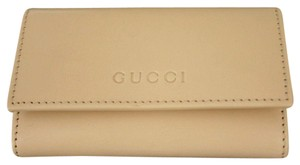 Gucci GUCCI Leather Key Chain/ Holder BEIGE w/Box 260989 9910