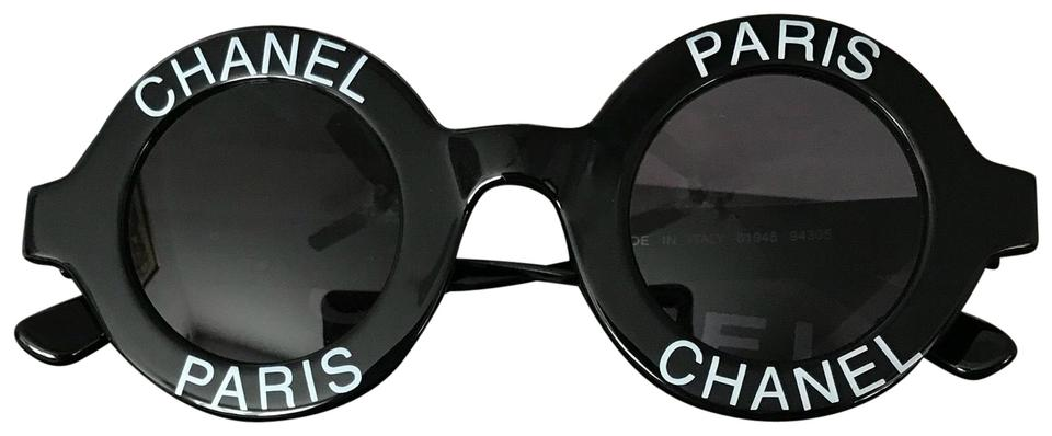 258cc79b2e44 Chanel Black Paris Round Iconic Vintage Sunglasses - Tradesy