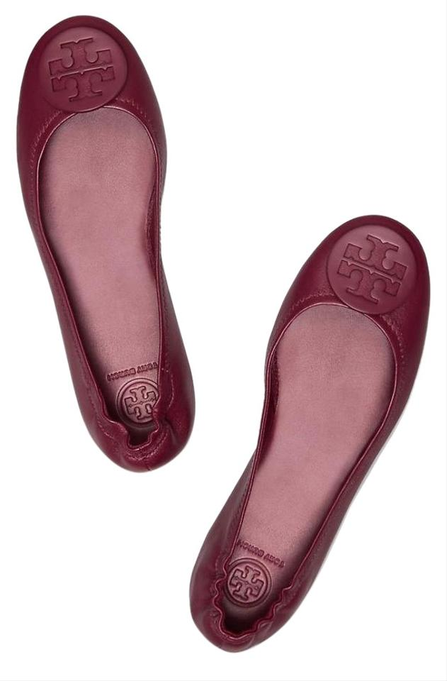 1c878eaf868 Tory Burch Red Imperial Garnet Burgundy New Leather Logo Minnie Travel  Ballet Box Flats