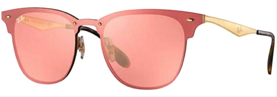 327af9b602e Ray-Ban Gold Frame   Pink Mirrored Lens Unisex Square Sunglasses ...