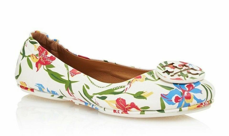 11da79f6953871 Tory Burch White Floral Multi New Minnie Travel Ballet Box Flats ...