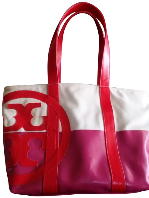 Item - Cream Red and Pink Canvas Tote