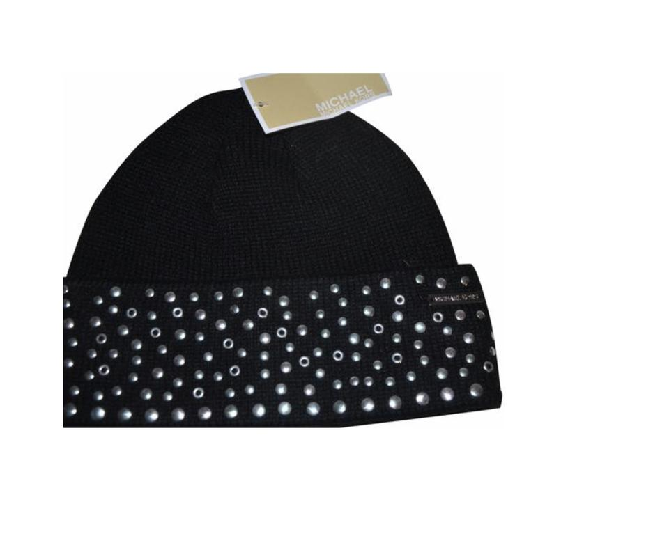 5d8aef7c2 Michael Kors Black Silver Studded Beanie Winter One Size Hat