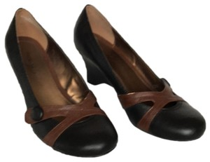 Madeline Stuart Two Tone Black and Brown Wedges
