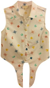 Modcloth Button Down Shirt White with Compass Rose and Binocular Pattern