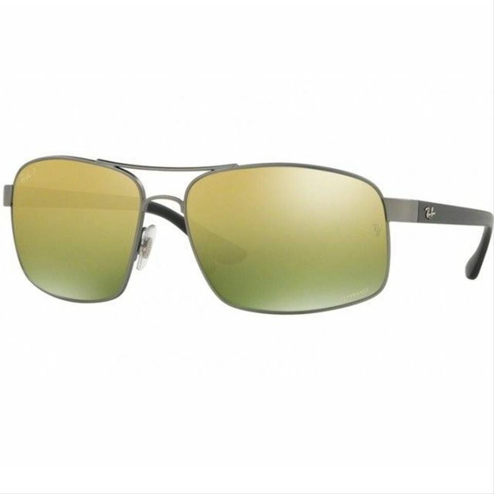 3206b7b3893e1 Ray-Ban Silver Frame   Green Mirrored Gradient Lens Unisex Square ...