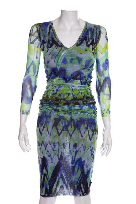 Item - Green & Blue Mesh Mid-length Night Out Dress Size 4 (S)