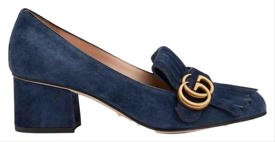 49f6d8cd195 Gucci Blue Marmont Suede Mid-heel with Double G Pumps Size EU 39 ...