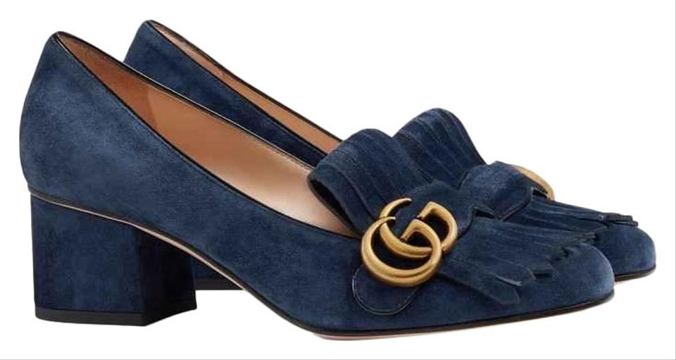 03d91dc6abf Gucci Blue Marmont Suede Mid-heel with Double G Pumps Size EU 39.5 ...