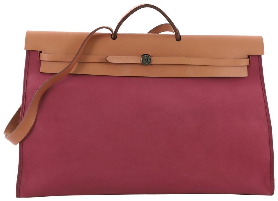 2667e01baa1c Hermès Herbag Zip 50 Crafted In Tosca Toile Officier Natur Purple and Brown Leather  Tote