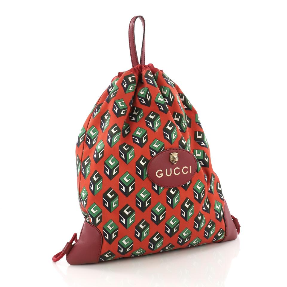 ff78ada1b9ce Gucci Drawstring Animalier Printed Large Red Canvas Backpack - Tradesy